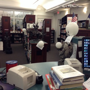 Owls at the circulation desk